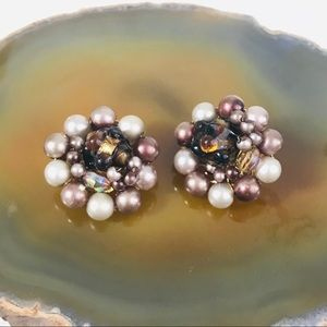 Vintage 50s Japan Faux Pearl Cluster Clip Earrings